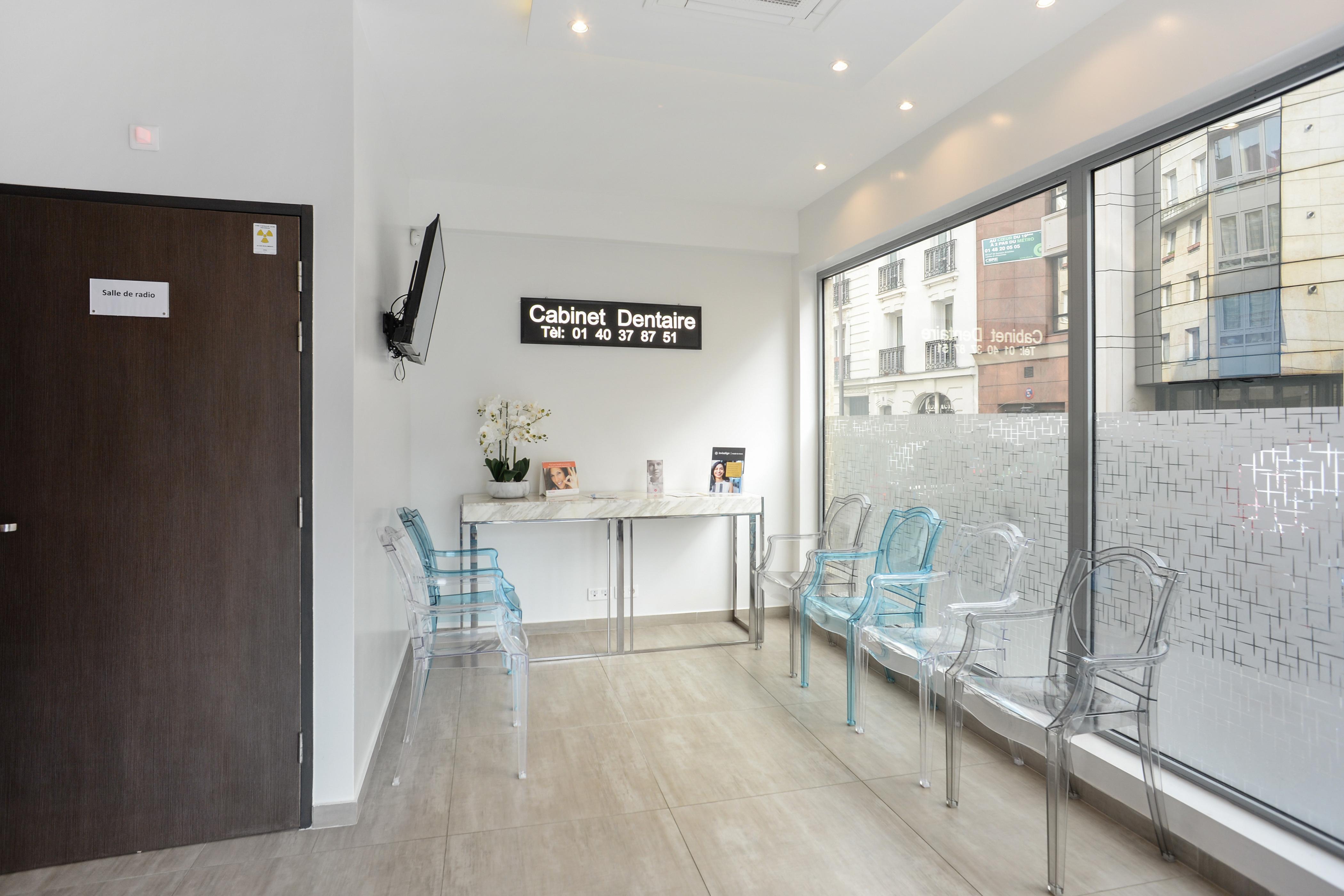 Salle d'attente chez le dentiste Paris 19